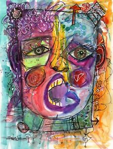 Original Expressionist Pirate portrait painting of woman-female-pop art-signed