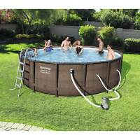 """Bestway 16' x 48"""" Power Steel Frame Above Ground Swimming Pool Set with Pump"""