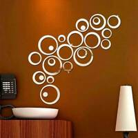 3D Mirror Circle Wall Stickers DIY Art Mural Wall Stickers Room Home Wall Decors