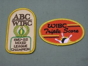 2 different WIBC (Bowling) patches - Triple Score and 1987-88 Champion