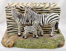 Zebra Family Animal Candle Holder 3 Wick Striped