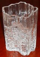 "IIttala TAPIO WIRKKALA Pinus Pattern ART GLASS Ice Vase 6.5"" SIGNED TW"