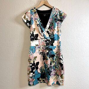 Guess Los Angeles Women's M Satin Floral Dress V-neckline