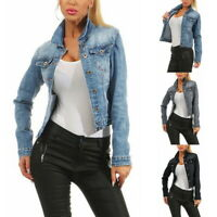 Women's Casual Cowboy Jacket Ladies Jean Jackets Ripped Distressed UK S-3XL