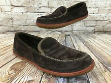 LL BEAN Chocolate Brown Suede Mountain Moccasin Slippers Men's 10 M $79.00