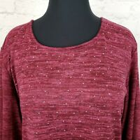 """Croft & Barrow Womens 2XL Plus Tunic Pullover Blouse Top Sequins  3/4"""" Sleeves"""