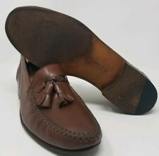 Moreschi Men's Brown Stitched Tassel Calfskin Loafers Size US 7.5 Made in Italy