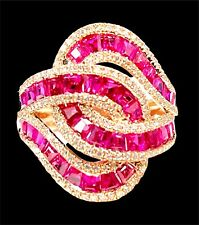 EFFY 14K SOLID ROSE GOLD NATURAL RUBY DIAMOND SWIRL ROYALE COCKTAIL RING SZ 7
