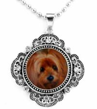 "YORKSHIRE TERRIER 'YORKIE' DOG SNAP BUTTON CRYSTAL NECKLACE ON A 25"" CHAIN ~NEW!"
