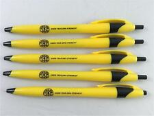 NEW Lot of 4 Gold's Gym Black Ink Ball Point Pens Yellow
