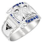 Customizable Men's 0.925 Sterling Silver or Vermeil Scottish Rite Mason Ring