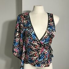 Womens NWT Bebe Multi Colored Print Stretch Asymmetric Kimono Top Size S/P