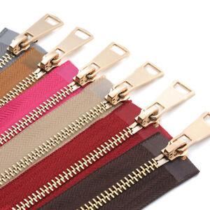 5/10pcs Metal Teeth Zipper 5# Open-end Auto Lock Gold Metal Zipper Cloth Jeans