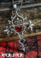 Vampire Gothic Cross Necklace Pendant Women Alchemy Jewellery Heart Love Gift