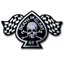 Death Or Glory 69 Patch Iron On Biker Sew Badge Racing Rally Flag Punk Rock MC