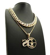 "& Sg Pendant W/ 24"" box chain necklace Hip Hop 18"" Iced Out Cuban Choker Chain"