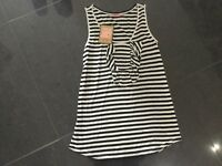 NWT Juicy Couture New & Genuine Ladies Size Small Black/White Striped T-Shirt