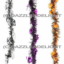 HALLOWEEN TINSEL BAT SKULL PUMPKIN TINSEL GARLAND 2M LONG HALLOWEEN PARTY TINSEL