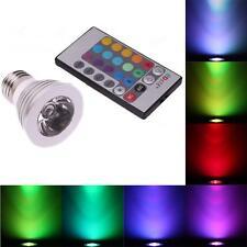 E27 3W 16 Color Changing RGB LED Light Bulb Lamp 85-265V+IR Remote Control