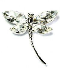 w Swarovski Clear Crystal Bridal Wedding ~DRAGONFLY Pin Brooch Jewelry Xmas Gift
