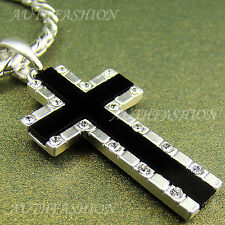 High-Q Silver Plated Mens Onyx Cross Pendant Chain Necklace Hiphop Gift Idea 91S