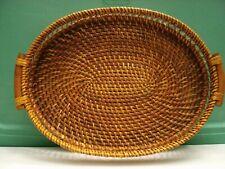 Handmade Rare Rattan Wicker Oval Serving Tray Decorative Table Piece