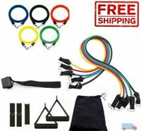 Resistance Bands Set Pull Rope Gym Home Fitness Workout Crossfit Yoga Tube 11 PC