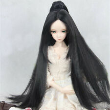8-9'' 1/3 BJD Doll Wig SD Dollfie DZ DOD LUTS Long Straight Ponytail Black Hair