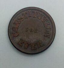 (1863 ) Civil War Token Not One Cent Roloff Constitution Lustre Very Sharp