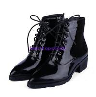 Womens Patent Leather Pointed Toe Shoes Lace Up Black Heel Side Zip Ankle Boots