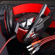 Contorno Estéreo Bajo Diadema Auriculares USB 3.5mm Jack JUGADOR LED para PC #