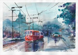 original drawing A3 24RK art samovar watercolor Cityscapes Signed 2021