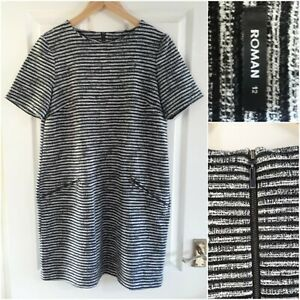 Roman Black and White Shift Dress Size 12 Short Sleeves Autumn Winter Work Party