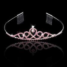 Wedding Rhinestone Flower Girl Crown Headband Tiara with Comb Pink