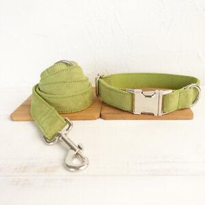 Dog Collar And Lead Set Plush Green Pet UK Seller DC5