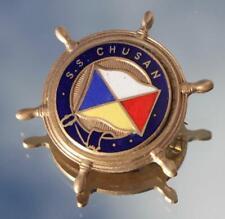 P&O ORIENT LINE SS CHUSAN FINE QUALITY ENAMEL LARGE SHIPS WHEEL BADGE C-1950'S