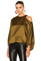 Tibi Celestia Satin Top XS Cutout Cold Shoulder Oversized Long Sleeve Womens