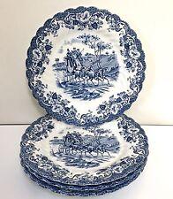 "Johnson Bros COACHING SCENES 4 Dessert Plates 6.25"" Cobalt Blue Transfer Ware"