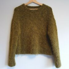 COS Womens Size S Olive Green Mohair Wool Fluffy Jumper Sweater Winter Autumn
