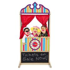 Melissa&Doug Wood Puppet Theater Center w/Chalk Board Clock Kids Play Learn Fun