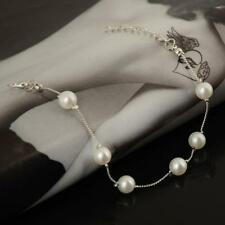 NEW Fashion Women Jewelry Silver Plated Chain Faux Pearl Bangle Bracelet Gifts