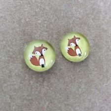 12mm Cabochons, Cute Fox on Mint Green, Glass Domed, 2pcs, Jewellery Making