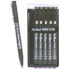 6pc Artline 6 Nib Sizes 0.1/0.2/0.3/0.4/0.5/0.8 Wallet Drawing System Pen Black