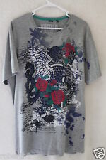 Buffalo David Bitton Men's Large Gray 85% Cotton Graphic T-Shirt