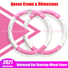 Car Accessories Steering Wheel Cover Pink Leather Anti-slip 15'/38cm Universal