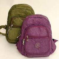 New Small Strong Lightweight Zipped Rucksack/Handbag Black Purple Brown Green