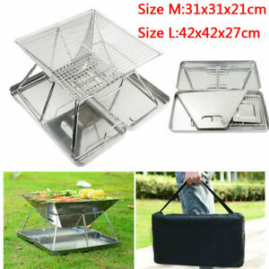 Foldable Fire Pit Garden Heater Barbecue BBQ Grill Stove Camping Charcoal Patio