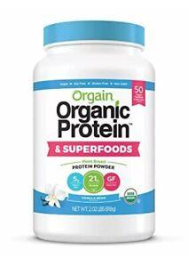 Orgain Organic Plant Based Protein + Superfoods Powder, Vanilla Bean Vegan 2 lb