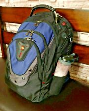 """Swissgear Ibex 17"""" Backpack Black and Blue Tons of Pockets $99-110 Retail"""