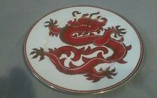 FITZ AND FLOYD PLATES CHING DRAGON PATTERN RED GOLD 7.5in DIA SET OF 8 447